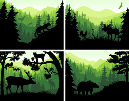 set of vector mountains woodland animals silhouettes in sunset design templates Illustration