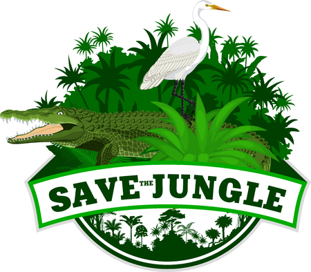 Vector Jungle Emblem with crocodile and heron