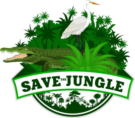 Vector Jungle Emblem met krokodil en reiger Stock Illustratie