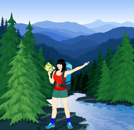 vector evening in beautiful mountains forest with girl