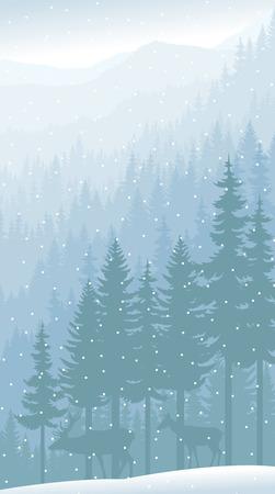 vector bergen bos achtergrond met herten
