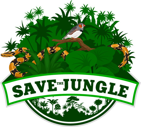 Vector Jungle Emblem with python and Zebra Finch