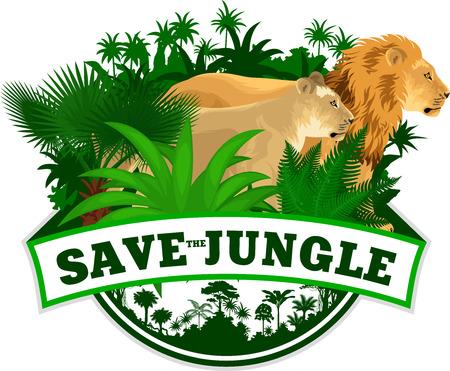 Vector Jungle Emblem with lions Illustration