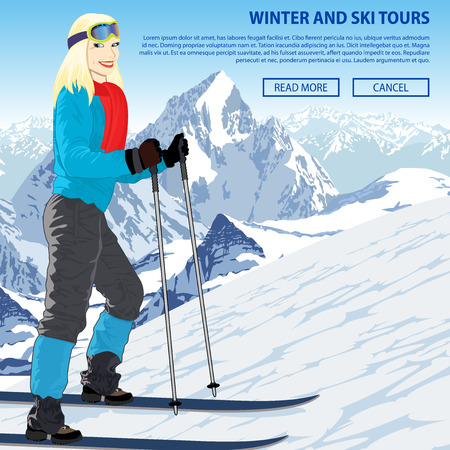 Winter snow sports vector illustration with girl in mountains ski resort