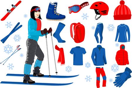 ski iconen set van complete ski en snowboard outfit en ski-uitrusting met meisje op ski's in het skigebied Stock Illustratie