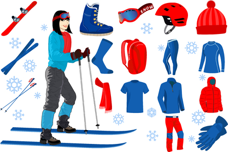 skiing icons set of complete ski and snowboard outfit and ski resort equipment with girl on skis in the ski resort Ilustração