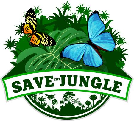 morpho menelaus: Vector Jungle Emblem with butterflies