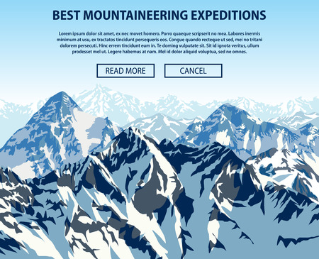 mountaineering: Vector mountaineering expeditions background theme, Trekking, hiking, and mountaineering illustration. Extreme travel outdoor trip concept.