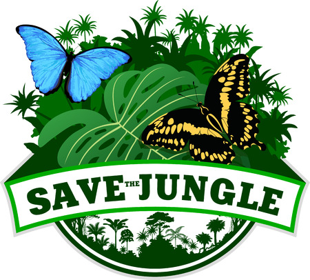 morpho menelaus: Vector Jungle Emblem with morpho butterflies