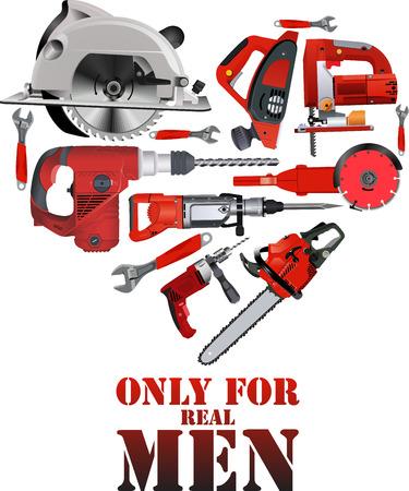 Reparatie gebouw timmerwerkhulpmiddelen hart vorm - vector illustratie met werkende cirkelzaag, kettingzaag, boor, hamer en schroevendraaier.