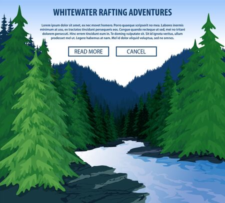 Vector whitewater rafting background theme. Extreme travel rafting outdoor trip concept