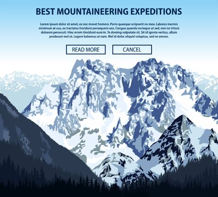 mountaineering: Vector climbing and mountaineering background theme, Trekking, hiking, and mountaineering illustration. Extreme travel expeditions outdoor trip concept.