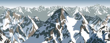 vector Himalaya alps mountains background texture seamless pattern Illustration