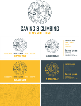 Vector outdoor gear visiting card. Business card set with abstract seamless background pattern. Corporate identity template with caving and climbing line icons logo.