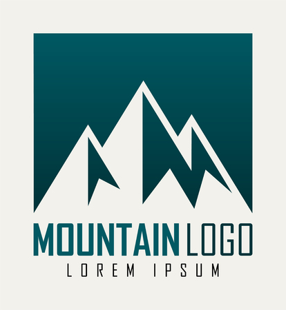 Vector mountain and outdoor adventures logo. Tourism, hiking and camping outdoor label. Illustration