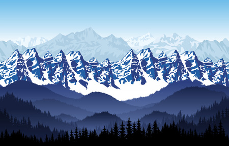 seamless mountains forest background