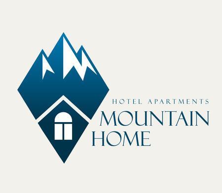 Vector mountain and outdoor house hotel logo.