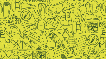 vector camping and hiking line icons background texture seamless pattern