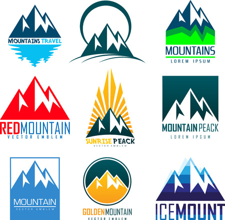 set of vector mountain and outdoor adventures logo. Tourism, hiking and camping outdoor labels.