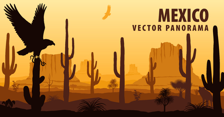 vector panorama of Mexico with eagle in desert Illusztráció