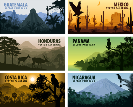 vector set of panorams countries Central America - Guatemala, Mexico, Honduras, Nicaragua, Panama, Costa Rica Vektoros illusztráció