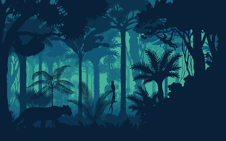 Vector evening tropical rainforest Jungle background with jaguar, sloth, monkey and qetzal