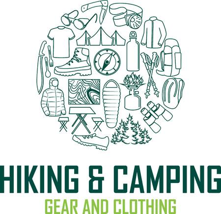Vector hiking and camping gear logo emblem