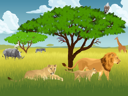 Isolated  illustration concept of avector african savannah with lions, rhino, girrafe, vulture, zebra and heron Illustration