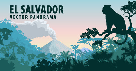 vector panorama of El Salvador with jungle raimforest and jaguar Banco de Imagens - 75333984