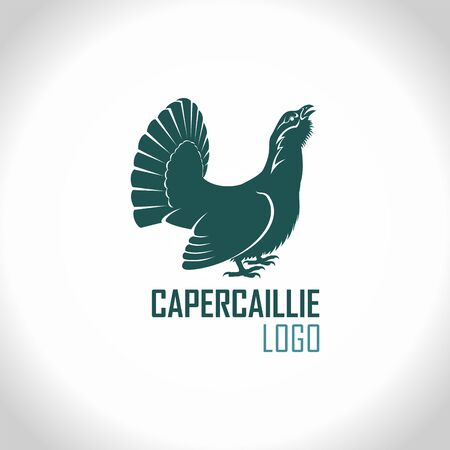 Western capercaillie, wood grouse, male bird - vector logo emblem Иллюстрация