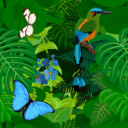 Seamless vector tropical rainforest Jungle background with motmot and butterflies Illustration
