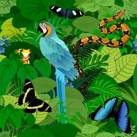 Seamless vector tropical rainforest Jungle background with ara makaw parrot, python and butterflies Illustration
