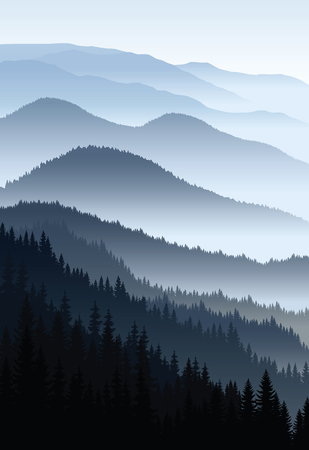 vector blue morning in mountains