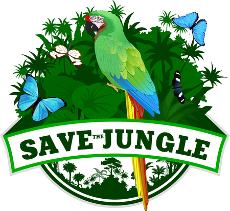 Vector Jungle Emblem with green macaw and butterflies