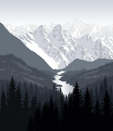 Vecteur matin dans de belles montagnes avec rivière Banque d'images - 77621138