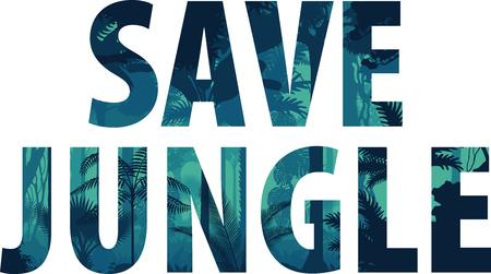 Vector horizontal tropical rainforest illustration (Save the jungle)
