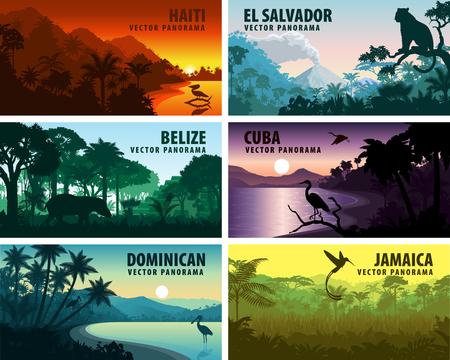 Vector set of panoramas of caribbean and Central America - Haiti, Jamaica, Dominicana, Cuba, El Salvador, Belize. Vetores