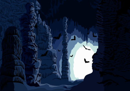 rock formation: Vector underground karst cave with bats