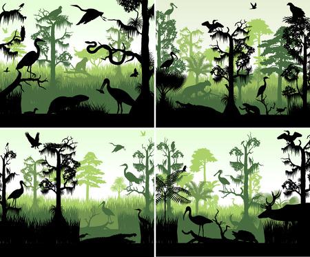 Set van vector regenwoud wetland silhouetten in zonsondergang ontwerpsjabloon met dieren Stock Illustratie
