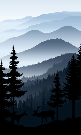 Vector blue morning in mountains with couple of deers Illustration