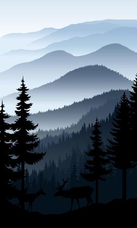 Vector blauwe ochtend in bergen met paar herten