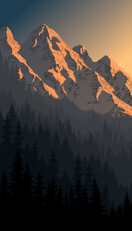 vector evening mountains landscape Stock Vector - 79880397