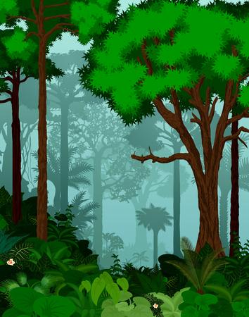 熱帯雨林のベクトル図です。ベクトル グリーン熱帯雨林ジャングル