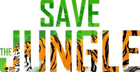 sumatran: Vector tropical rainforest illustration with tiger (Save the jungle) Illustration