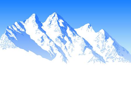 Vector blauwe mooie bergen