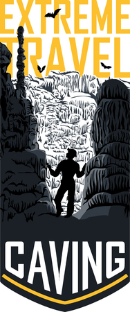Vector caving travel flayer template illustration Çizim