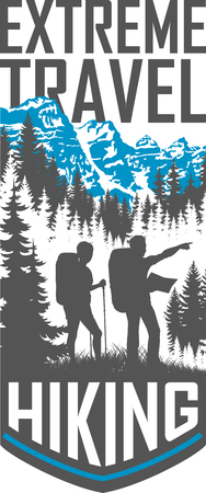 A vector hiking travel flayer illustration.