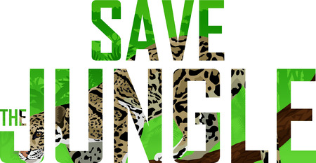 A vector tropical rainforest illustration with clouded leopard in(Save the jungle)word