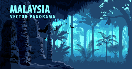 A vector panorama of Malaysia with jungle rainforest, karst cave and bats.