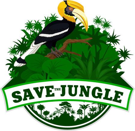 Vector Jungle Emblem with great hornbill Illustration